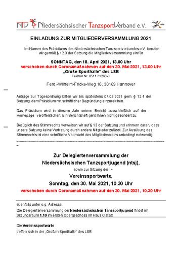 Neuer Termin Mitgliederversammlung: 30.05.21